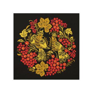 Gypsy Bird and Grapes Wood Wall Panel