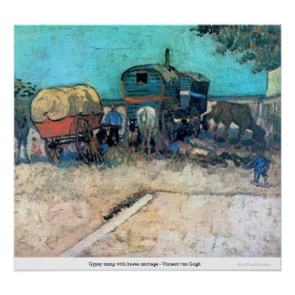 Gypsy camp with horse carriage - Vincent van Gogh Print