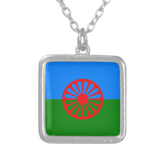 Gypsy flag silver plated necklace