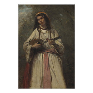 Gypsy Girl with Mandolin Poster