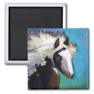 Gypsy Horse running passion colorful painting art Magnet