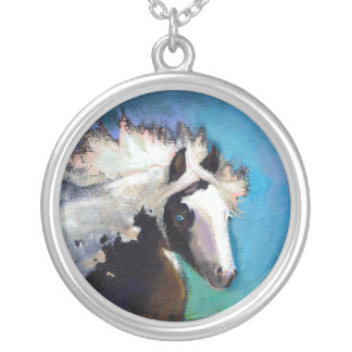 Gypsy Horse running passion colorful painting art Round Pendant Necklace