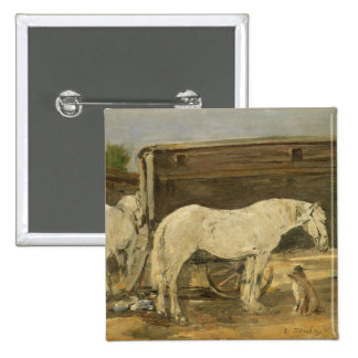 Gypsy Horses, c.1885-90 (oil on canvas) 15 Cm Square Badge