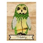 Gypsy Jade Owl Personalised Postcard