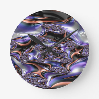 gypsy moire fractal round clock