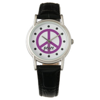 Gypsy Purple Peace Symbol Personalized Watch