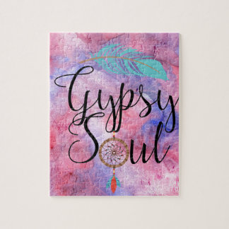 Gypsy Soul - Boho Flower Child Dreamcatcher Jigsaw Puzzle