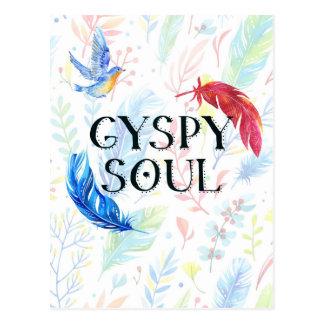 Gypsy Soul - Boho Watercolor Hippy Heart Postcard