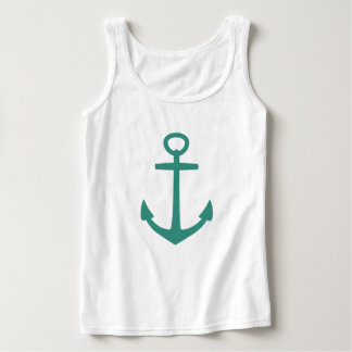 Gypsy Teal Anchor on White Singlet