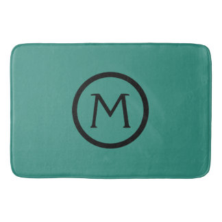Gypsy Teal and Black Monogram Bath Mat