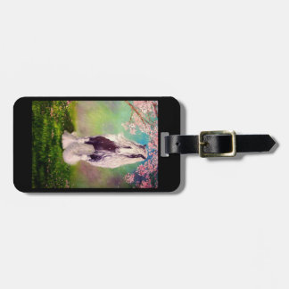 Gypsy Vanner, cherry tree blossoms, black Luggage Tag