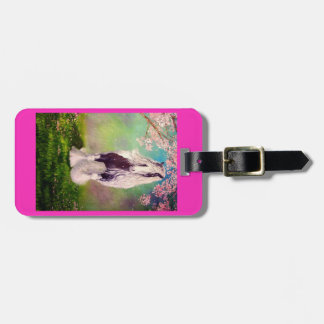 Gypsy Vanner, cherry tree blossoms, bright pink Luggage Tag