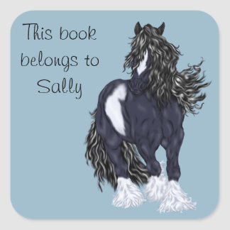 Gypsy Vanner Draft Horse Personalized Square Sticker
