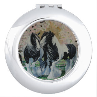 Gypsy Vanner stallion/mare cherry blossoms Travel Mirror