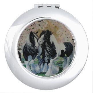 Gypsy Vanner stallion/mare cherry blossoms Travel Mirrors