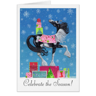 Gypsy Vanner Whimsical Christmas Card