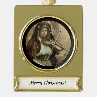 Gypsy Woman and Violin Gold Plated Banner Ornament
