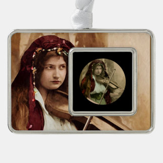 Gypsy Woman and Violin Silver Plated Framed Ornament