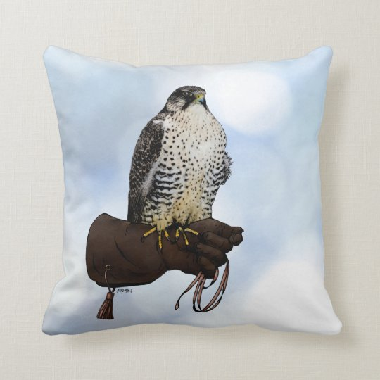 Gyrfalcon on Glove Throw Pillow