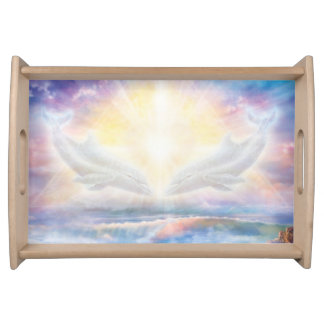 H006 Dolphins Heart Serving Tray