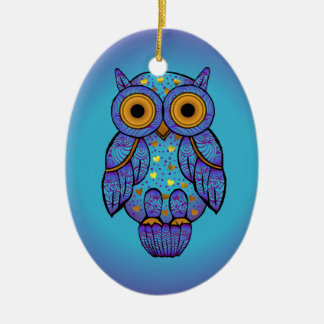 H00t Owl Blue Moon Oval Ornament