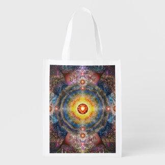 H012 Heart Mandala 2 Reusable Grocery Bag