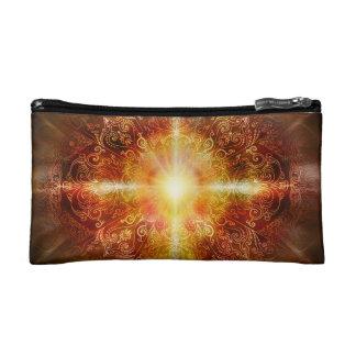 H014 Heart Mandala Brown Cosmetic Bag