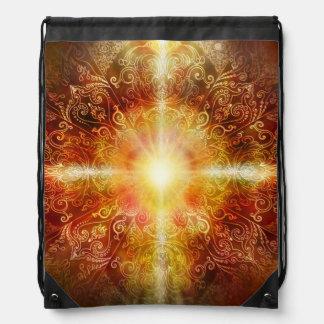 H014 Heart Mandala Brown Drawstring Bag