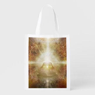 H048 Meditator Brown Reusable Grocery Bag