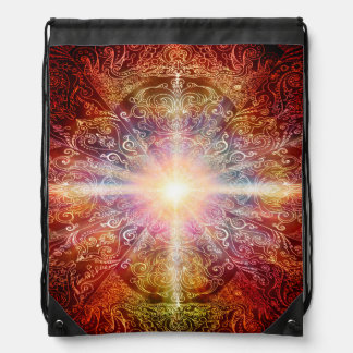 H069 Mandala Deep Orange 2 Drawstring Bag