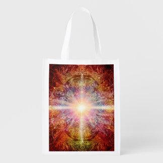 H069 Mandala Deep Orange 2 Reusable Grocery Bag