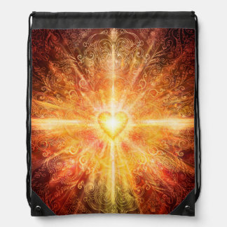 H070 Mandala Deep Orange Drawstring Bag