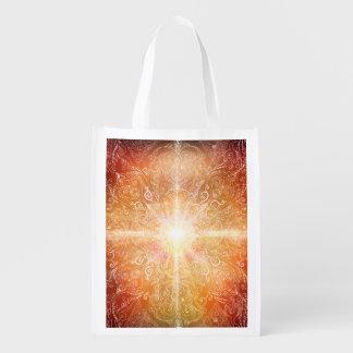 H074 Mandala Orange Bright Reusable Grocery Bag