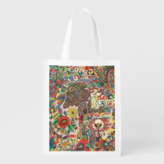 H081 Psychedelic 1969 Reusable Grocery Bag