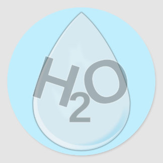 H2O Drop Classic Round Sticker