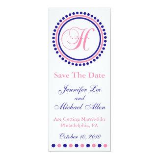 H Dot Circle Monogram Save The Date (Blue / Pink) Custom Announcement