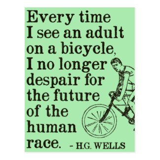 H.G. Wells quote on cycling postcard