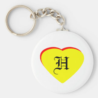 """""""H"""" Heart Yellow Red Wedding Invitation The MUSEUM Key Chain"""