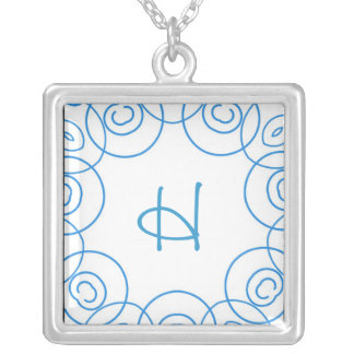 """""""H"""" initial in Blue Scroll on White, Fun Design Custom Necklace"""