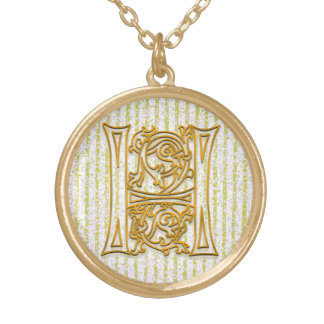 "H Initial Monogram ""Gold Pin Stripe"" Necklace"