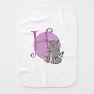 H is for Hippo Burp Cloth