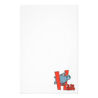 H is for hippo funny alphabet cartoon personalised stationery