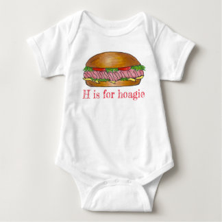H is for Hoagie Ham Cheese Sub Sandwich Foodie Baby Bodysuit