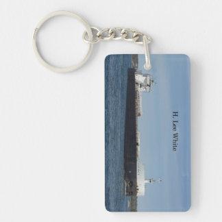 H Lee White rectangle key chain