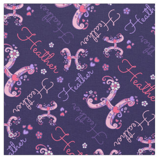 H monogram and personalized name Heather fabric