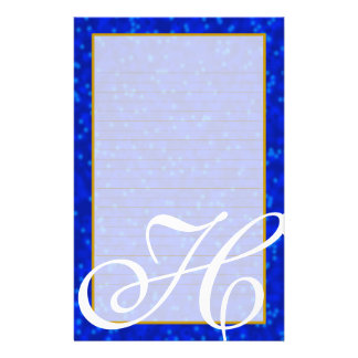 """H Monogram """"Blue Bubbles"""" Fine Lined Stationery"""