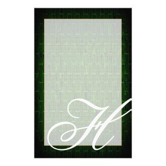 "H Monogram ""Green Brick"" Fine Lined Stationery Stationery Paper"
