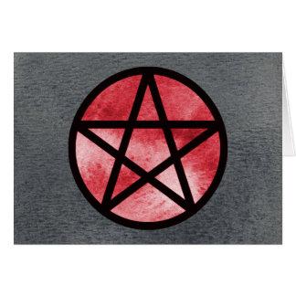 H Red on Black Pentacle Card