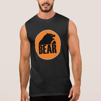 H S Bear Orange Circle (Black) Sleeveless Shirt