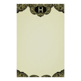 H - The Falck Alphabet (Golden) Personalized Stationery